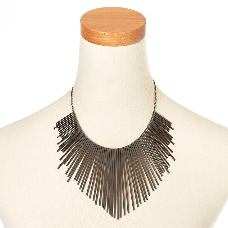Hematite-Tone Bars Necklace,