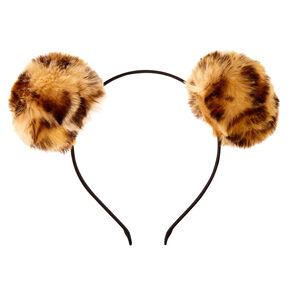 Leopard Print Pom Pom Headband,