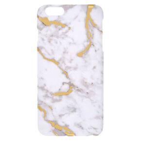 White & Gold Toned Marble Print Phone Case,