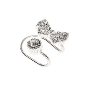 Silver-tone Bow and Faux Crystal Stud Wrap Ear Cuff,