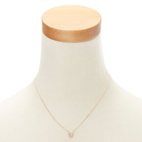 "Rose Gold Studded ""W"" Initial Necklace,"