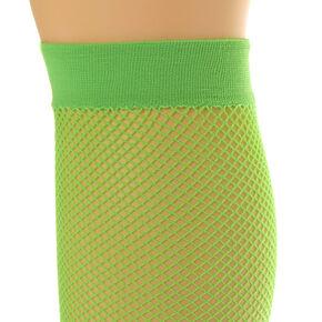 Lime Green Over the Knee Fishnet Socks,