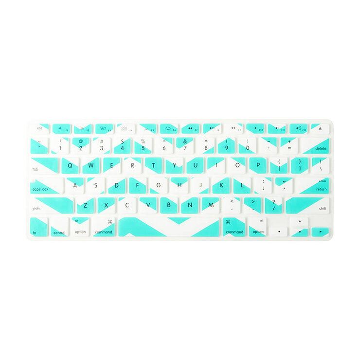 Mint & White Chevron Stripe Silicone  Keyboard Cover,