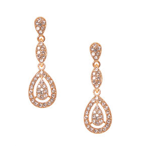 Rose Gold Pavé Teardrop Rhinestone Drop Earrings,