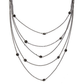 Black Multi Chain Beaded Necklace,