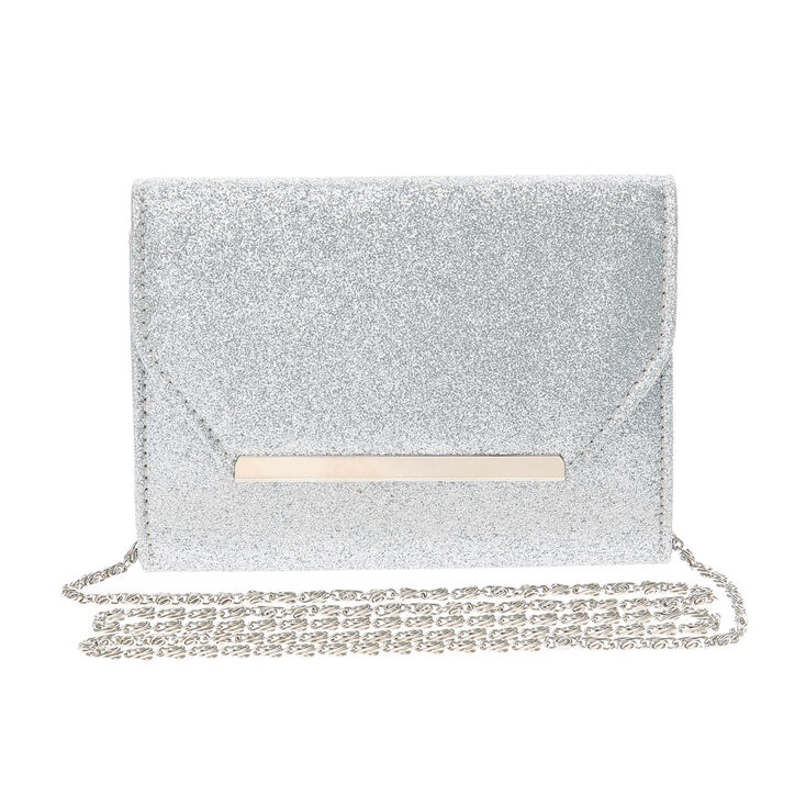 Silver Glitter Bar Clutch Crossbody Bag,