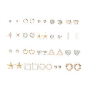20 Pk Mixed Metal Stud Earring Set,
