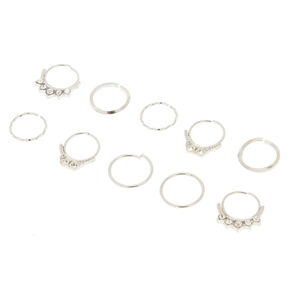 Silver Crystal Septum Hair Rings,