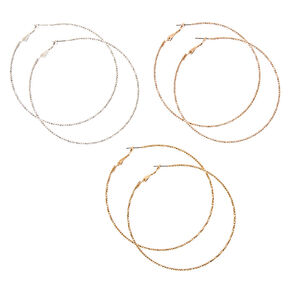 3 Pack 70MM Mixed Metal Textured Hoop Earrings,