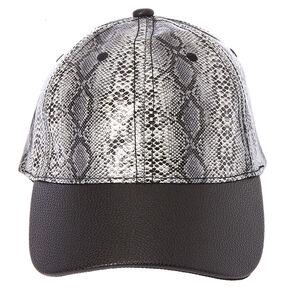 Snake Print Faux Leather Baseball Hat,