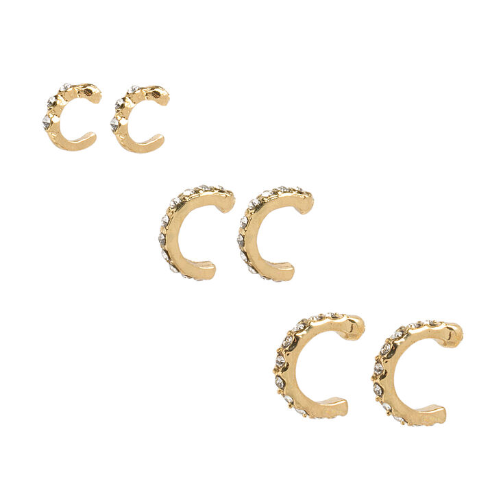 Gold & Crystal Graduated Cartilage Hoop Earrings,