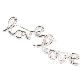 Silver-tone Love Ear Crawlers,