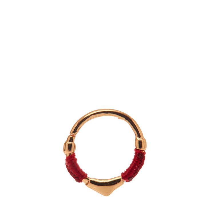 Red Wrapped Gold Hoop Cartilage Earring,