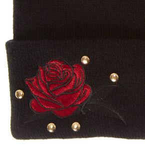 Black Rose Patch Beanie,