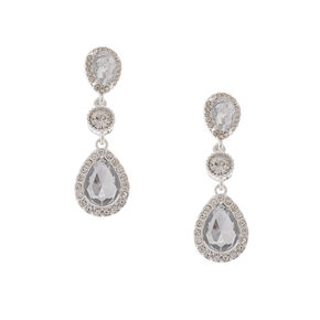 Rhinestone Framed Crystal Teardrops and Rounds Drop Earrings,