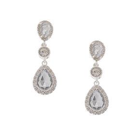 Rhinestone Framed Crystal Teardrops & Rounds Drop Earrings,