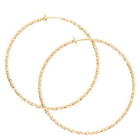 Textured Gold Spring Clip Hoop Earrings,