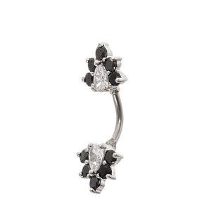 Cubic Zirconia Black Crystal Belly Bar,