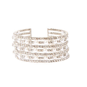Multi-row Faux Pearl and Crystal Cuff Bracelet,