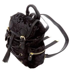 Black Crushed Velvet Mini Backpack,