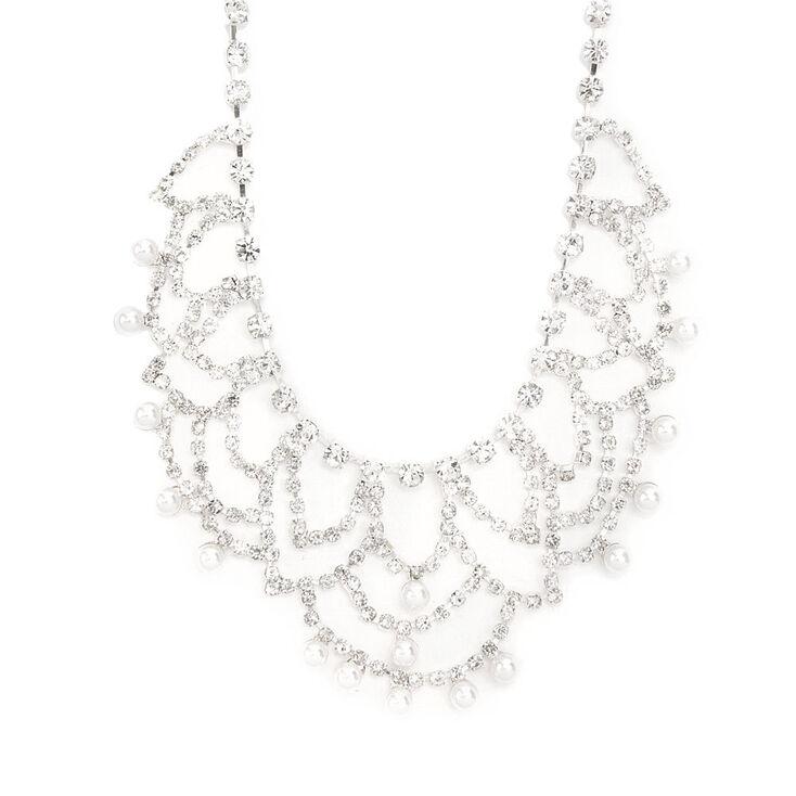 Rhinestone Swag & Pearl Dangle Statement Necklace,