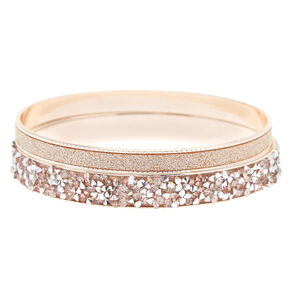 2 Pack Rose Gold Crushed Stone & Glitter Bangle Bracelets,