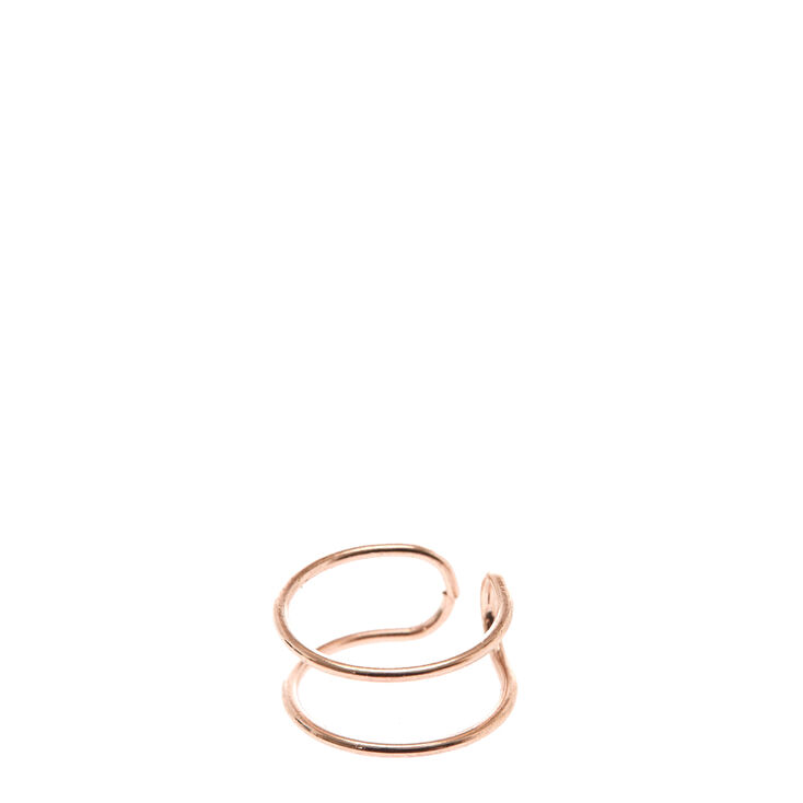 Rose Gold Skinny Double Band Ear Cuff,
