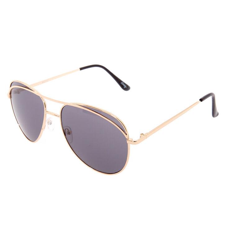 Black Tinted Aviator Sunglasses,