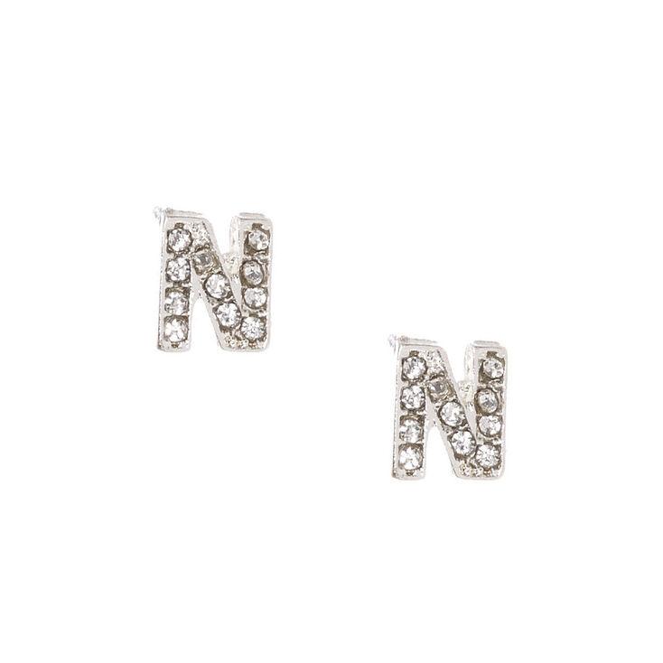 """Silver Tone Faux Crystal Initial """"N"""" Stud Earrings,"""