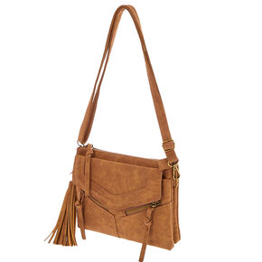 Cognac Brown Faux Leather Crossbody Envelope Bag,