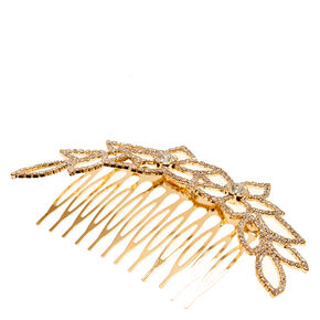 Gold Tone & Crystal Floral Hair Comb,