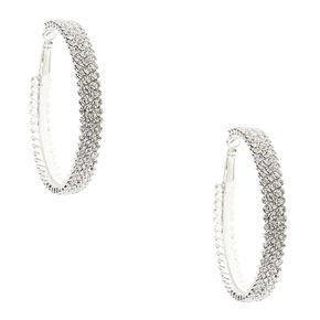 Silver Tone Triple Row Faux Crystal Hoop Earrings,