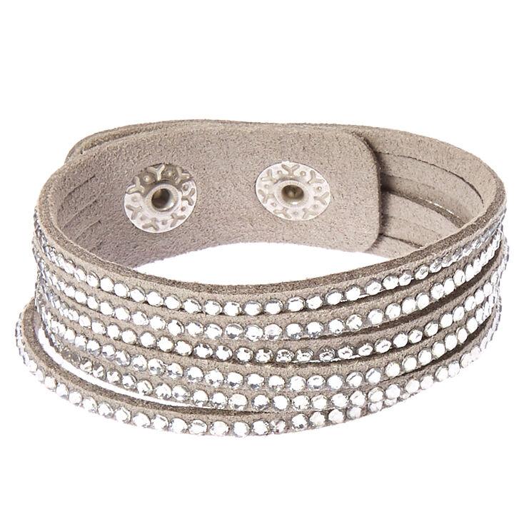 Gray & Silver Gem Snap Button Bracelet,