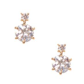 Gold Round Cubic Zirconia Drop Earrings,