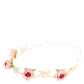 Pink Rose and Gold Butterfly Flower Crown,