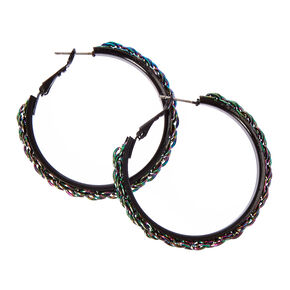 Metallic Rainbow Chain Black Hoop Earrings,