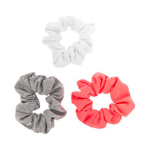 White, Gray and Coral Jersey Scrunchies,