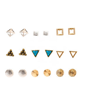 Triangle-Square Mixed Metal Studs,