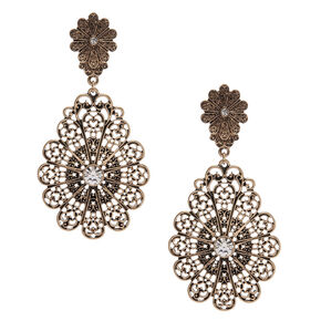 Vintage Style Large Bronze Filigree Drop Earrings,