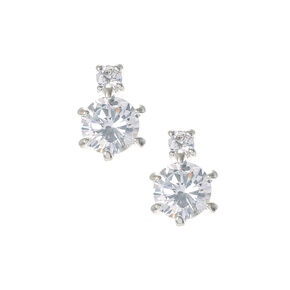 Shimmering Round Cubic Zirconia Drop Earrings,
