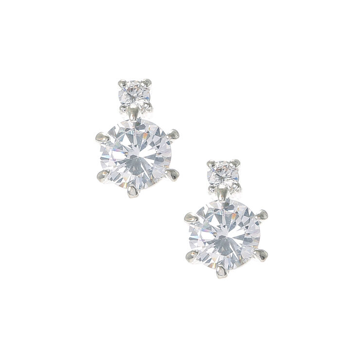 Shimmering Round Cubic Zirconia Drop Earrings,