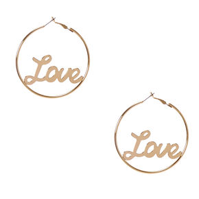 Love Gold Hoop Earrings,