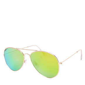 Gold Mirrored Aviator Sunglasses,