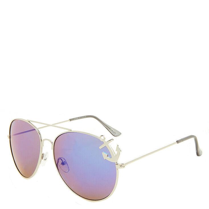 Blue & Silver Anchor Aviator Sunglasses,