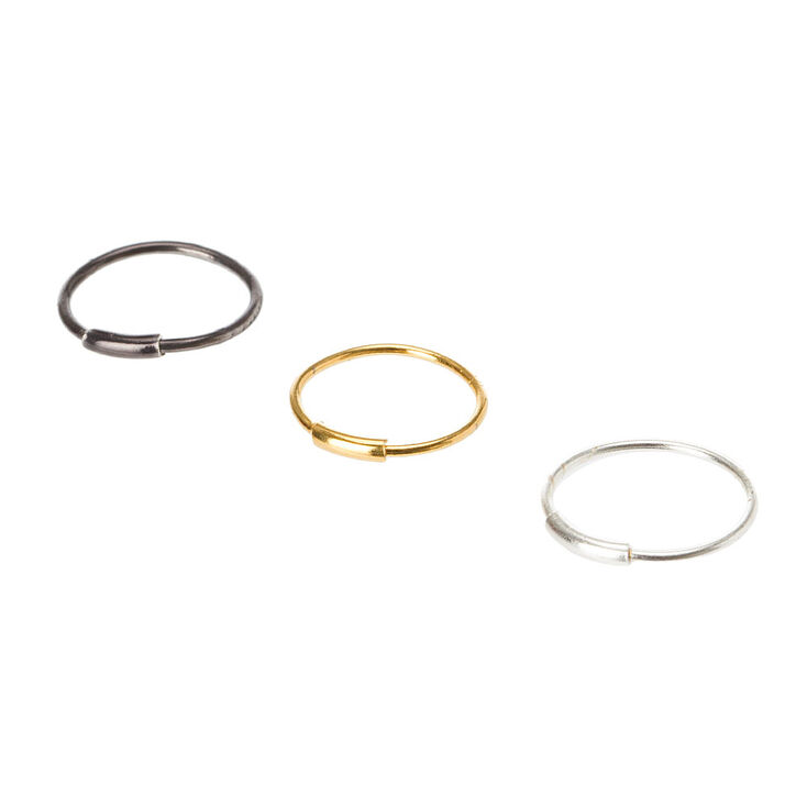 23G Silver, Gold & Hematite Nose Hoops Set,