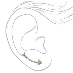 Silver-tone Faux Crystal Arrow Ear Crawlers,