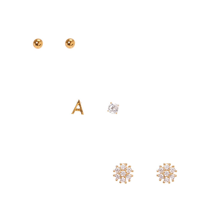 """18k Gold Plated """"A"""" Initial Stud Earring Set,"""