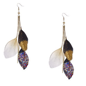 Gold Chain and Glittery Feather Drop Earrings,