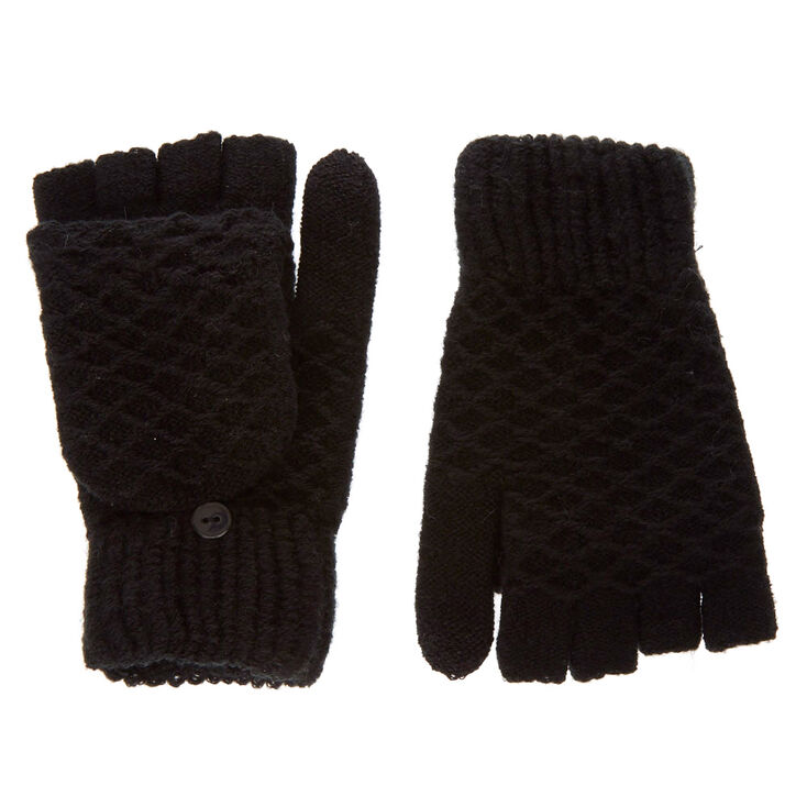 Black Textured Touch Screen Fingerless Gloves with Mitten Flap,