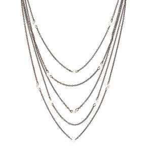 Black Multi-Strand Layered Necklace with Clear Gems,